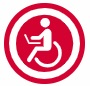 Red circle with white wheelchair icon in the middle